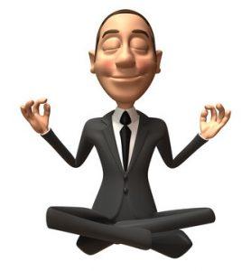 Auf dem Bild ist eine Comicfigur im Anzug zu sehen, die Yoga macht.